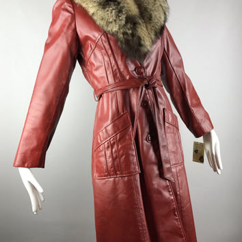 ViNtAgE 70s Leather Fur Trench Coat Jacket 1970s Belted Real Racoon Collar Long Nasty Gal free people Women's Coat S/XS