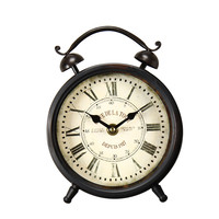 Vintage-Inspired Brown Iron Table Top Alarm Clock with Roman Numerals