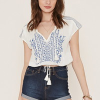 Embroidered Gauze Top   Forever 21 - 2000186054