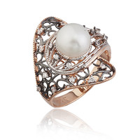 14K Solid White Rose Gold Unique Art Design White Pearl Fancy Ring BGNZ7108