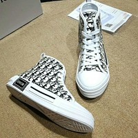 DIOR Fashion High Quality New More Letter Print Leisure High Top Women Shoes Black
