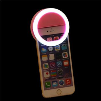 Clip on Cell Phone Selfie O Ring Light for Smart Phone IPhone in the Color Pink