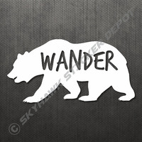 """Wander Grizzly Bear Sticker Decal MacBook Pro Air 13"""" 15"""" 17"""" Keyboard Keypad Mousepad Trackpad Laptop Vintage Inspirational Text Hiking"""