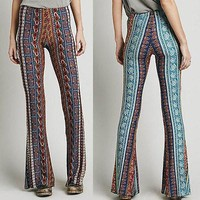 2016 fASHION Vintage High Waist Bell Bottom Long Flare Pants Stretch Boho Hippie tribe Trousers S M L XL