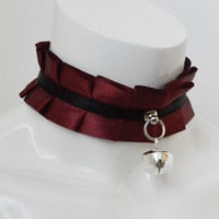 Kitten play collar - Dark Victoria - red and black satin pleated choker with bell - lolita kittenplay ddlg princess collar pet play bdsm