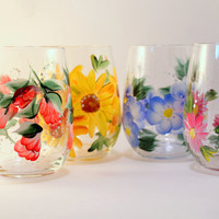 Floral Wine Glasses~ Set of 4 Stemless , Yellow Daisy, pink daisy, Blue and pink flowers, Christmas Gifts