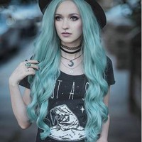Long Emerald Green Wavy Synthetic Lace Front Wig