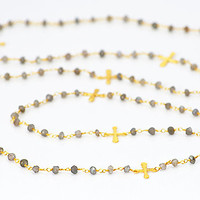 Long Cross Labradorite wire wrapped necklace - available in 18K vermeil gold
