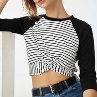 Striped Twist-Hem Raglan Top