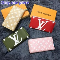 LV Louis Vuitton Fashion zipper color printing multi-function clutch bag wallet