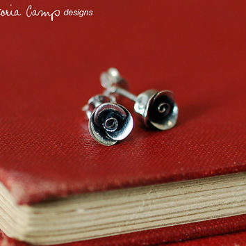Small Fine Silver Rose Earrings on Sterling Silver Posts - Hand Formed, Artisan, Wedding Bridal Gift, Delicate, Flower