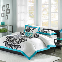 Full / Queen size Modern Teal Damask 3-Piece Comforter Set