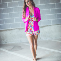 Classic Open Front Hot Pink Blazer