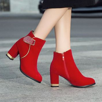 Crystal Winter Ankle Boots Warm Faux Fur Booties