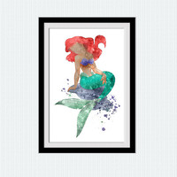 The Little mermaid colorful poster Disney princess decor Ariel watercolor art print Home decoration Kids room wall art Nursery decor W621
