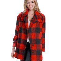 Make A Statement Plaids Coat - Red/Black