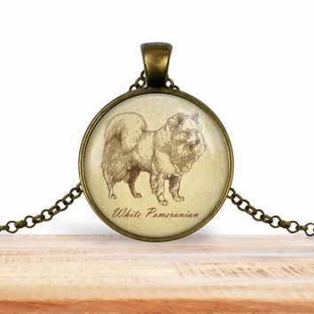 Pomeranian (white) dog pendant necklace, choice of silver or bronze, key ring option