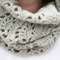chunky sage green cowl infinity scarf snood wool blend crochet lace olive circle scarf
