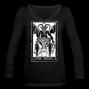 The Devil Tarot Women's Long Sleeve  V-Neck Flowy Tee