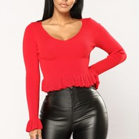 Ruffle My Feathers Long Sleeve Top - Red