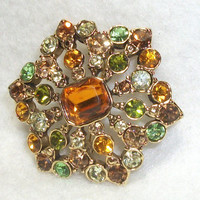 Vintage Liz Claiborne Rhinestone Brooch Signed LC - Colorful Rhinestones in Shades of Topaz or Amber Rootbeer Green Olive Green Celery Green