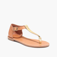 THE SIGHTSEER T-STRAP THONG SANDAL IN METALLIC COLORBLOCK