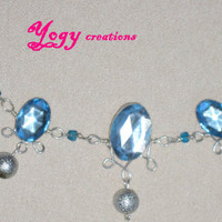 Light blue crystal glass silver bead victorian chain necklace jewelry gift by Yogy's