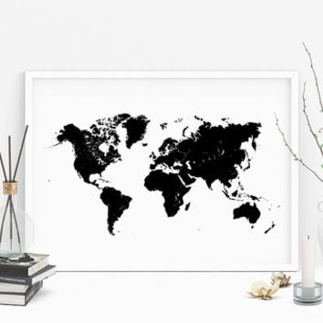 World map vector/ printable world map/ black world map/ Scandinavian decor/ minimalist/ minimal decor/ printable artwork