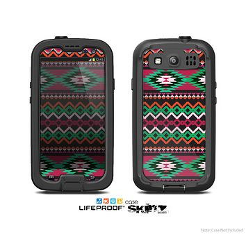 The Vector Green & Pink Aztec Pattern Skin For The Samsung Galaxy S3 LifeProof Case