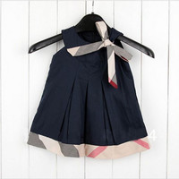 English Sleeveless Bow Summer Party Dress Girls