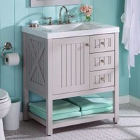 Martha Stewart Living, Seal Harbor 30 in. Vanity in Sharkey Gray with Vanity Top in Alpine White, SL30P2COM-SG at The Home Depot - Tablet