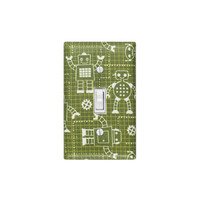 Robot Light Switch Plate Cover / Baby Nursery / Children Kids Room / Kitchen / Green and White / Robot Factory