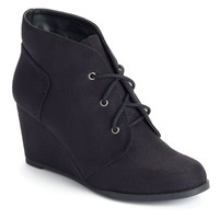 SO Women's Lace-Up Wedge Ankle Booties