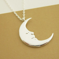 Crescent moon necklace, New moon necklace