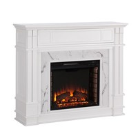 Harper Blvd Vierling Faux Cararra Marble Electric Media Fireplace - White | Overstock.com Shopping - The Best Deals on Indoor Fireplaces