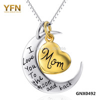 Genuine 925 Sterling Silver Moon Gold Plated Mom's Heart Personalized Necklace