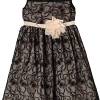 Champagne Satin with Black Floral Lace Overlay Occasion Dress (Girls Sizes 2T - 12)