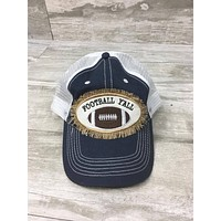 Football Ya'll Burlap Patch Trucker Hat - Navy