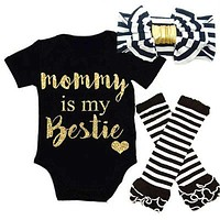 Baby Set Striped Newborn Baby Kids Girls Mommy Is My Bestie Black Headbands+ Rompers+Striped Leg Warmer Outfits Set 0-18 M
