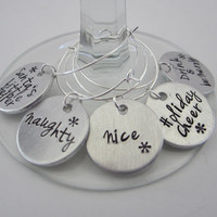 Hand Stamped  Holiday Wine Charms / Santa's Little Helper / Naughty / Nice / Holiday Cheer / Drink & Be Merry / Hostess Gift / Holiday Party