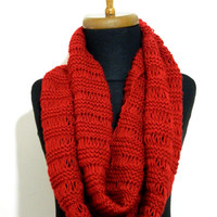 Hand Knit infinity Scarf. Block Infinity Scarf. Loop Scarf, Circle Scarf, Neck Warmer.Red Knit Infinity scarf...winter scarves...