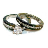 Camo 15 Stone Sterling Silver Wedding SetPurchase