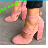 Women Sexy Heels 5 Colors Suede Straps Thick High Heeled Shoes Summer Party Sandals Plus Size 34-43