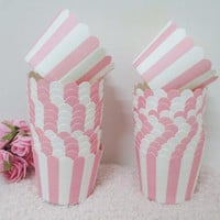 50PCS Stripe Pink Paper Baking Cups, Cupcakes, Favor Cups, Candy, Greeseproof Paper Cups