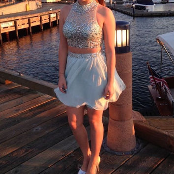 Two Pieces Homecoming Dress, Short Two Pieces Prom Dress