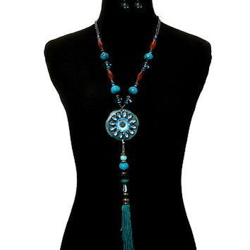 "27"" teal yarn tassel fringe beads boho collar choker necklace 1.5"" earrings"