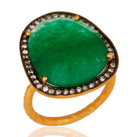 Natural Green Aventurine Gemstone Gold Plated over brass Ring With CZ