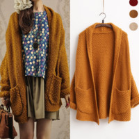 Solid color bat sleeve knit cardigan sweater coat thick lines