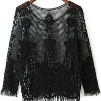 Black Long Sleeve Floral Sheer Lace Blouse