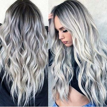 Hot sale bleaching and dyeing mid-length curly gray gradient wig female chemical fiber headgear